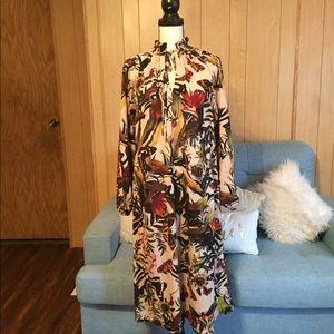 H&M Tropical Butterfly Long Sleeve Dress